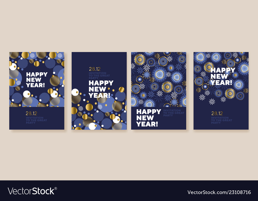 New year and christmas posters collection
