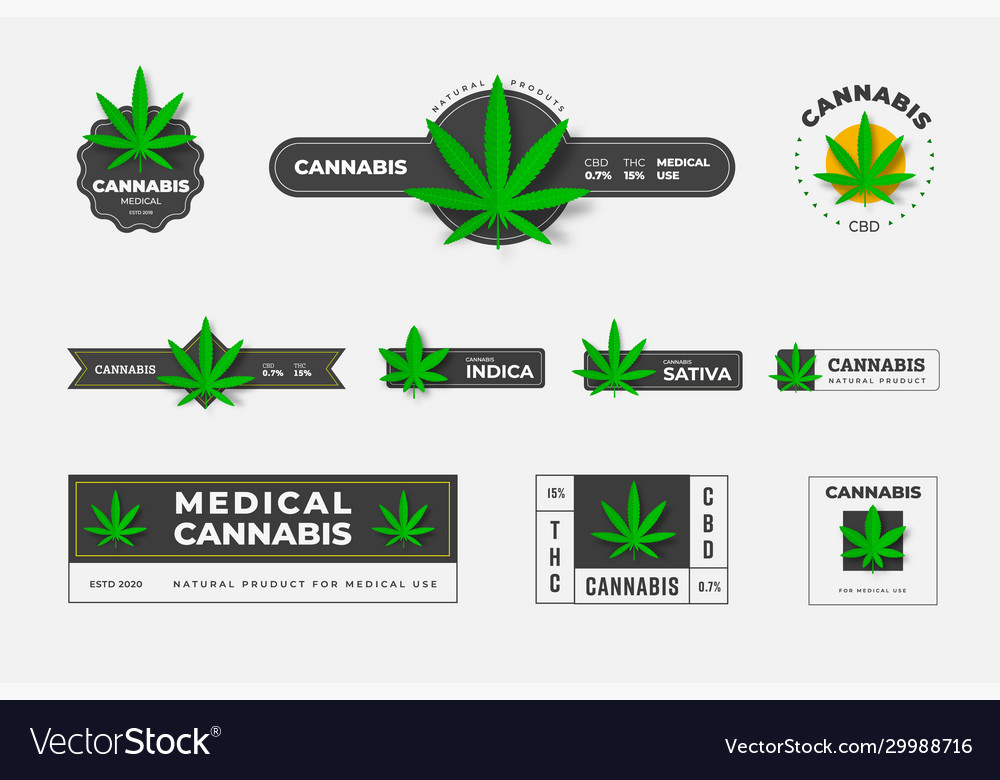 Set logos organic hemp sbd and thc on a