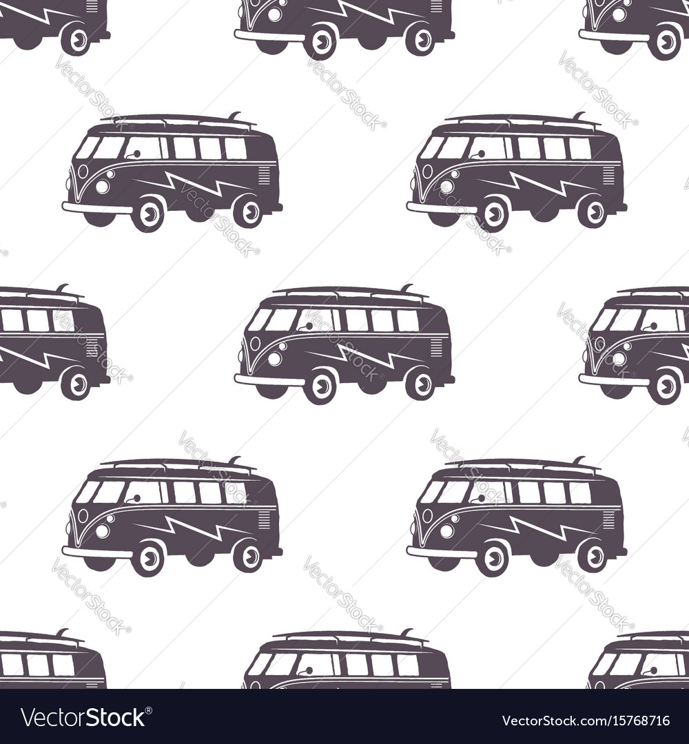 Surfing old style car pattern design summer