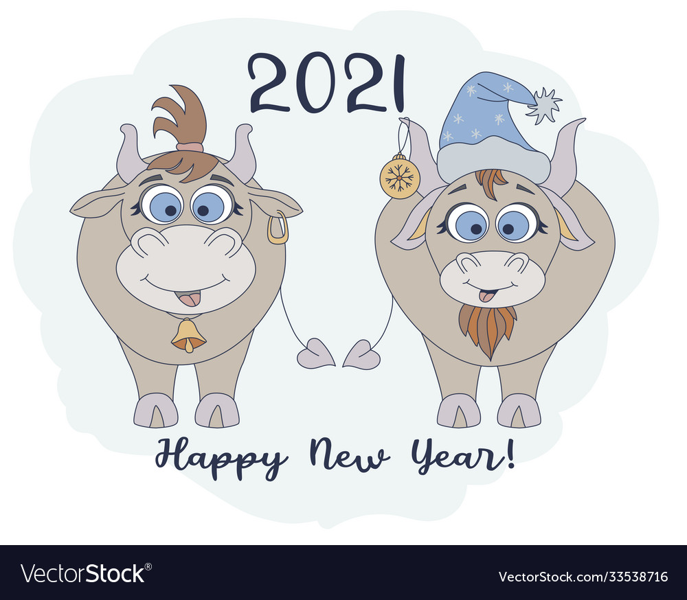 Year bull 2021 funny characters a cute