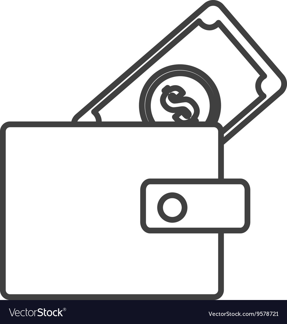 Black and white wallet and money graphic vector image