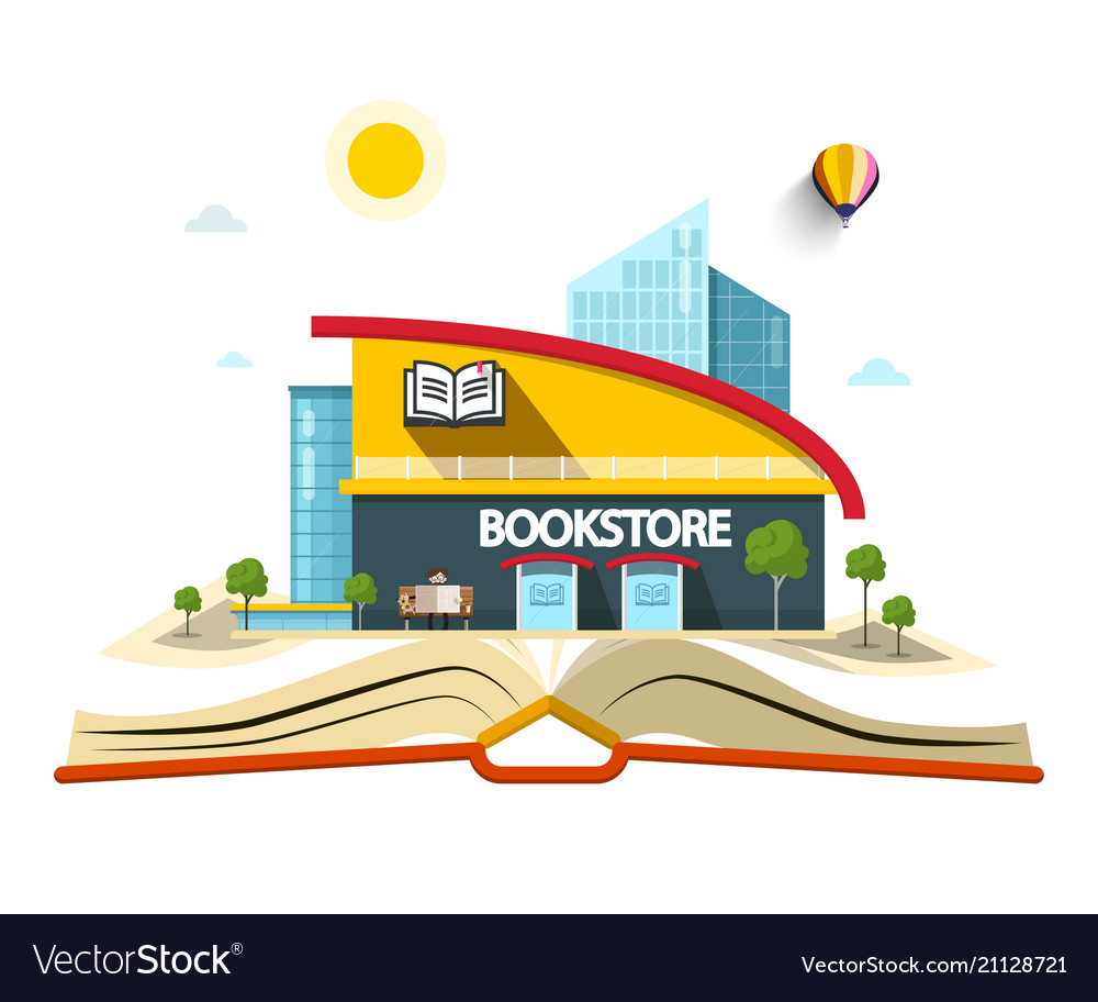 Bookstore building on open book vector image