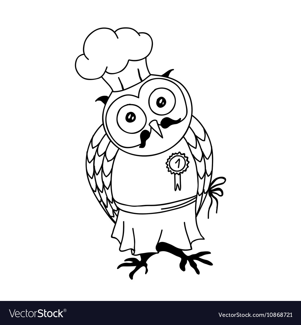 Cute doodle owl with cake on the head Young lady