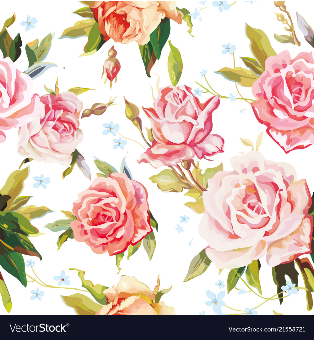 Elegance seamless color rose pattern on white