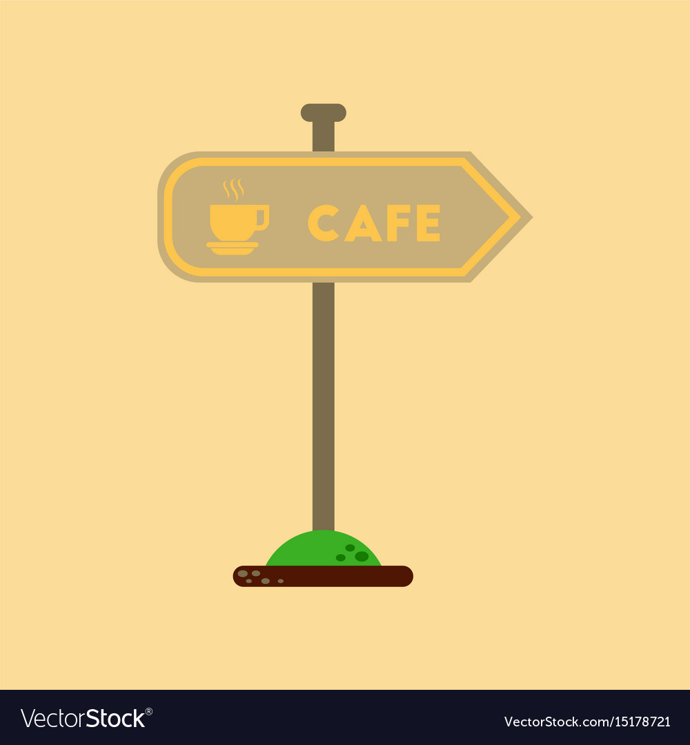 Flat icon on background cafe sign