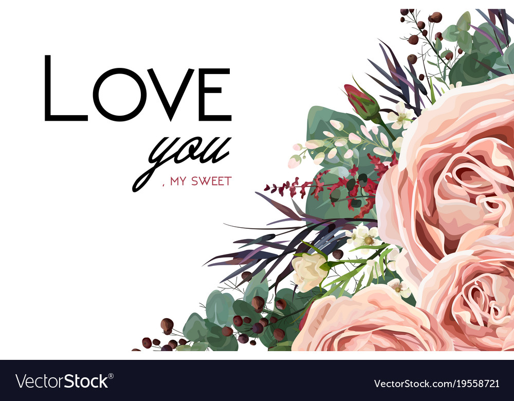 Floral card design with rose flower leaves herbs