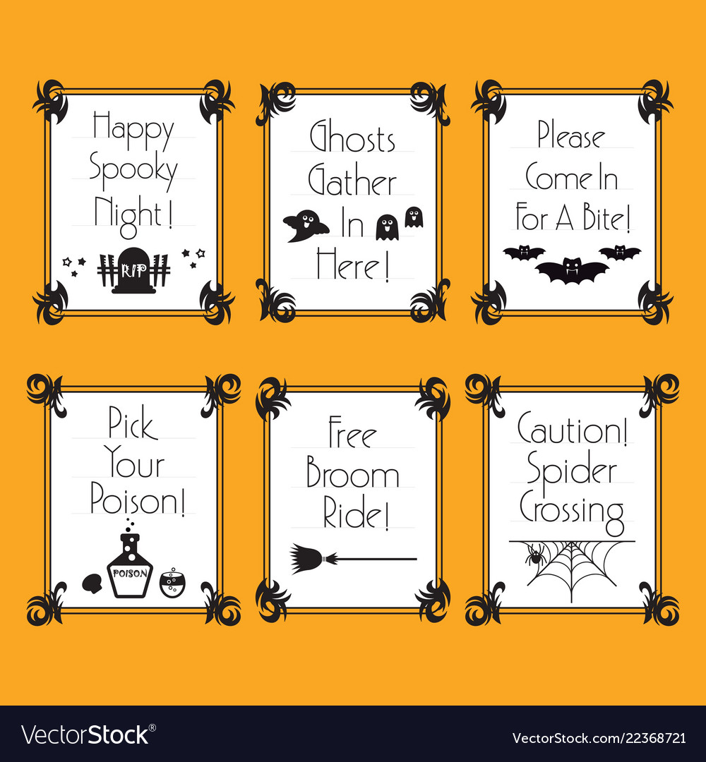 Halloween Phrases.Funny Conceptual Halloween Phrases And Words Cards