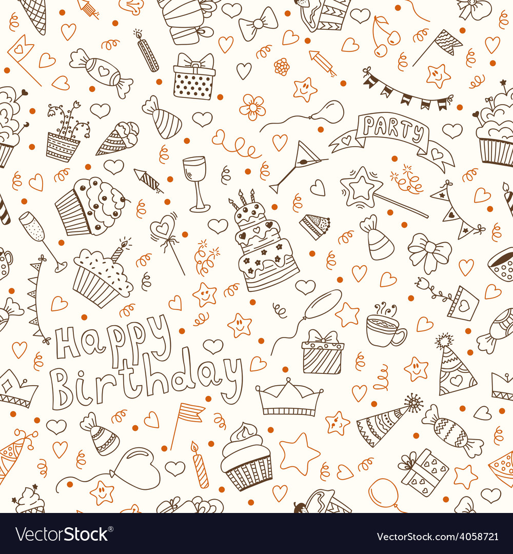 Hand drawn seamless pattern with Birthday elements
