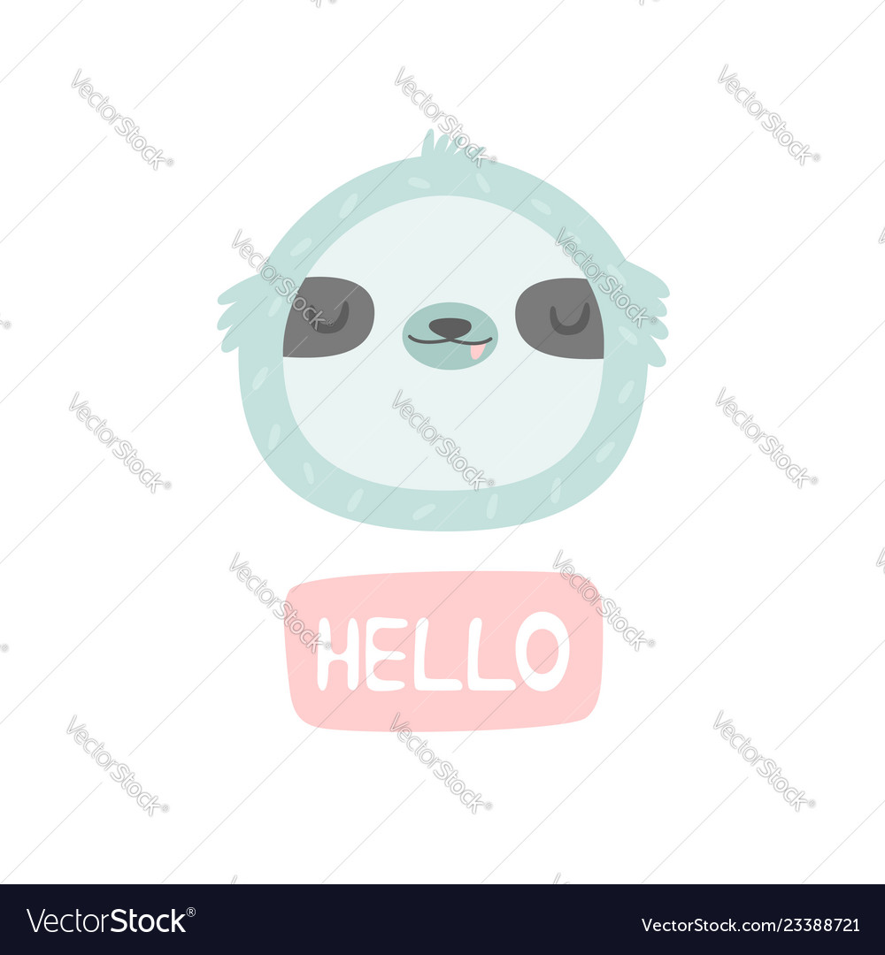 Hand drawn smiling sloth character