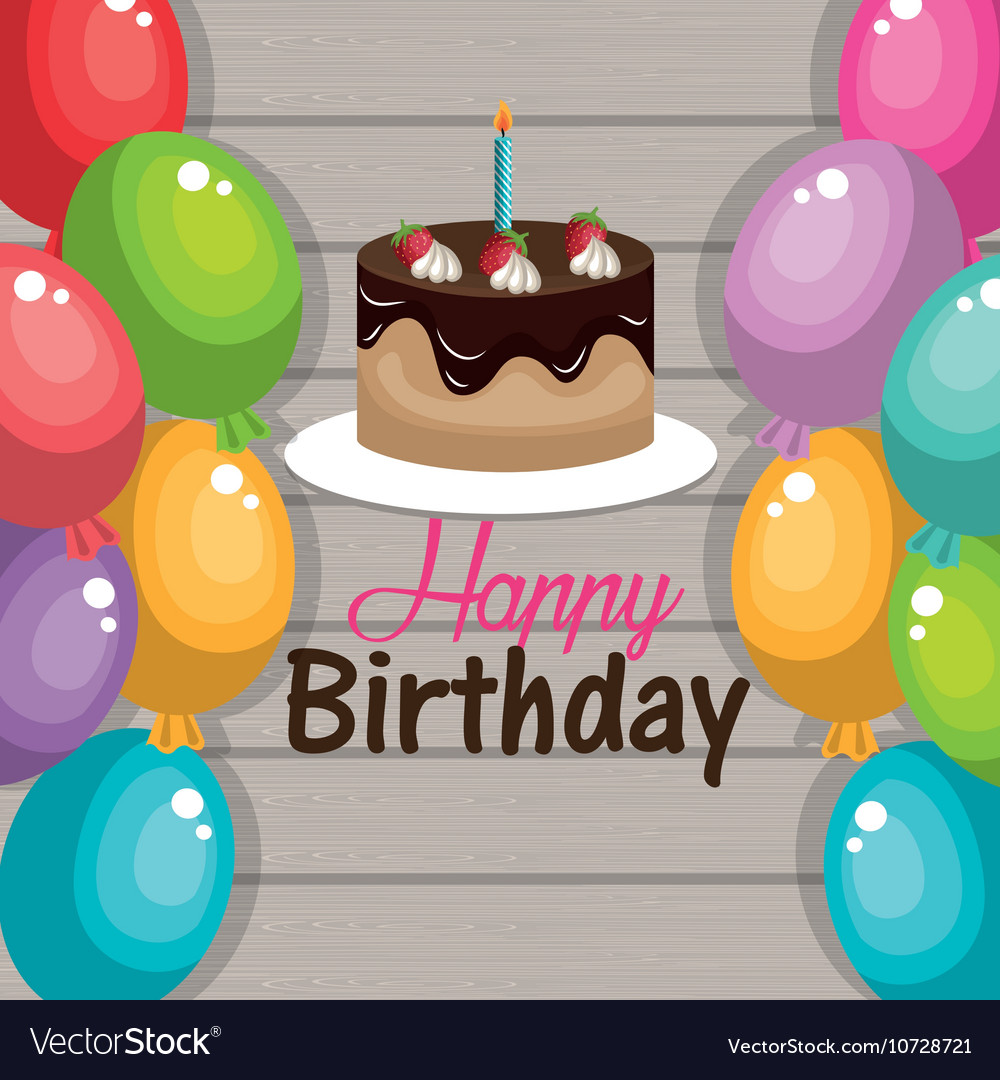 Wondrous Happy Birthday Cake Chocolate Balloons Graphic Vector Image Personalised Birthday Cards Veneteletsinfo
