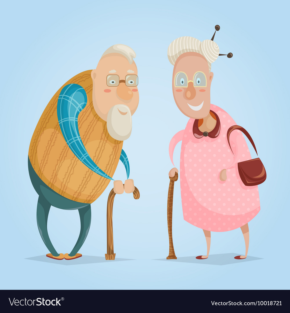Happy grandparents funny cartoon characters
