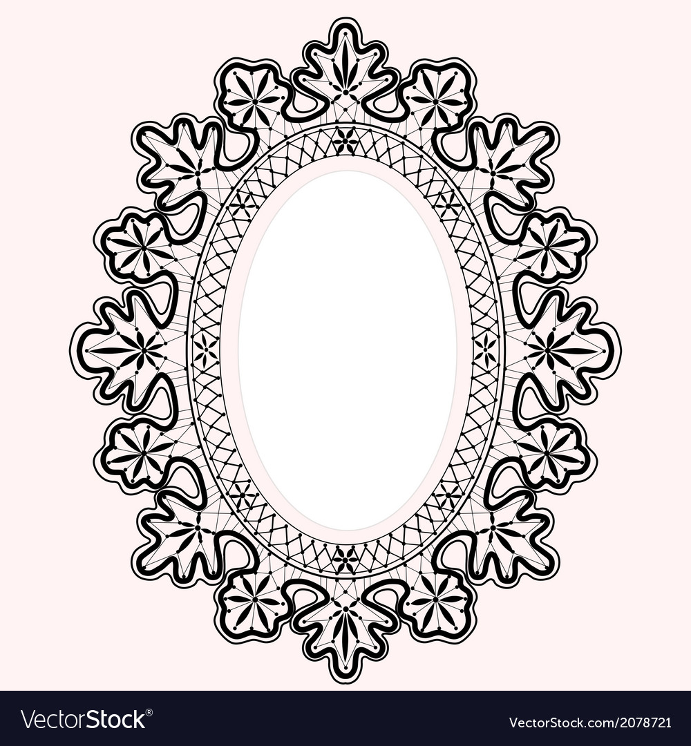 Lace oval frame vector image