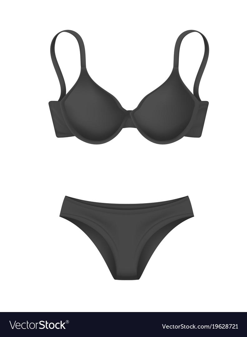 Realistic black bra panties template mockup Vector Image 2187d9c65