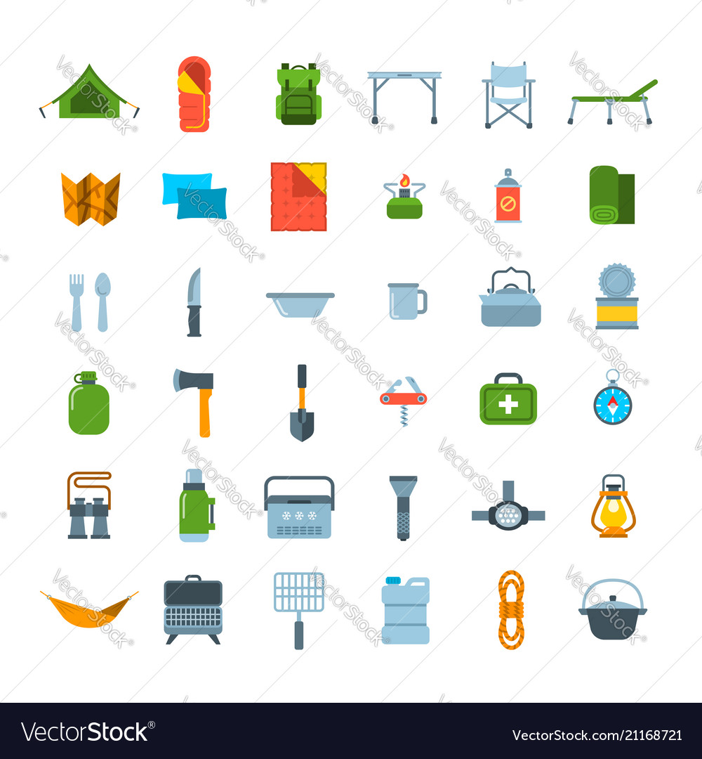 Tourist equipment for hiking icons set