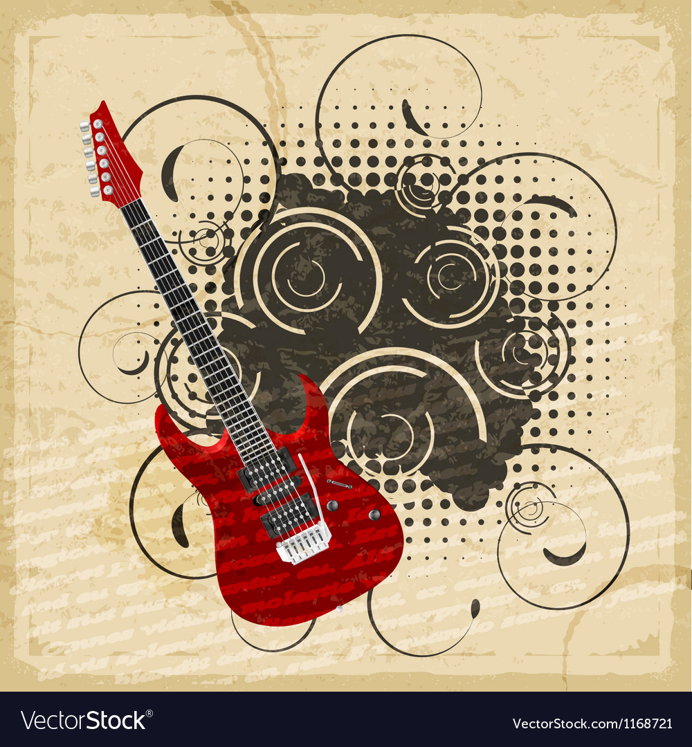 Vintage paper background of electric guitar