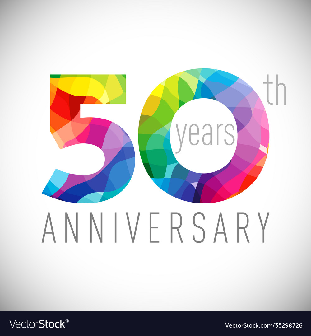 50 th anniversary facet years multicolored