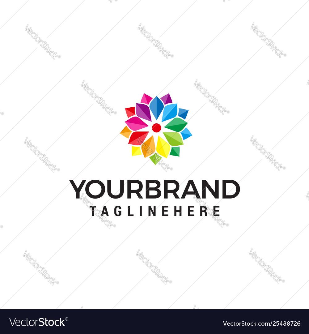 Abstract multicolor flower logo design concept