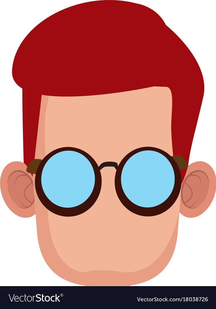 Cute boy with glasses cartoon