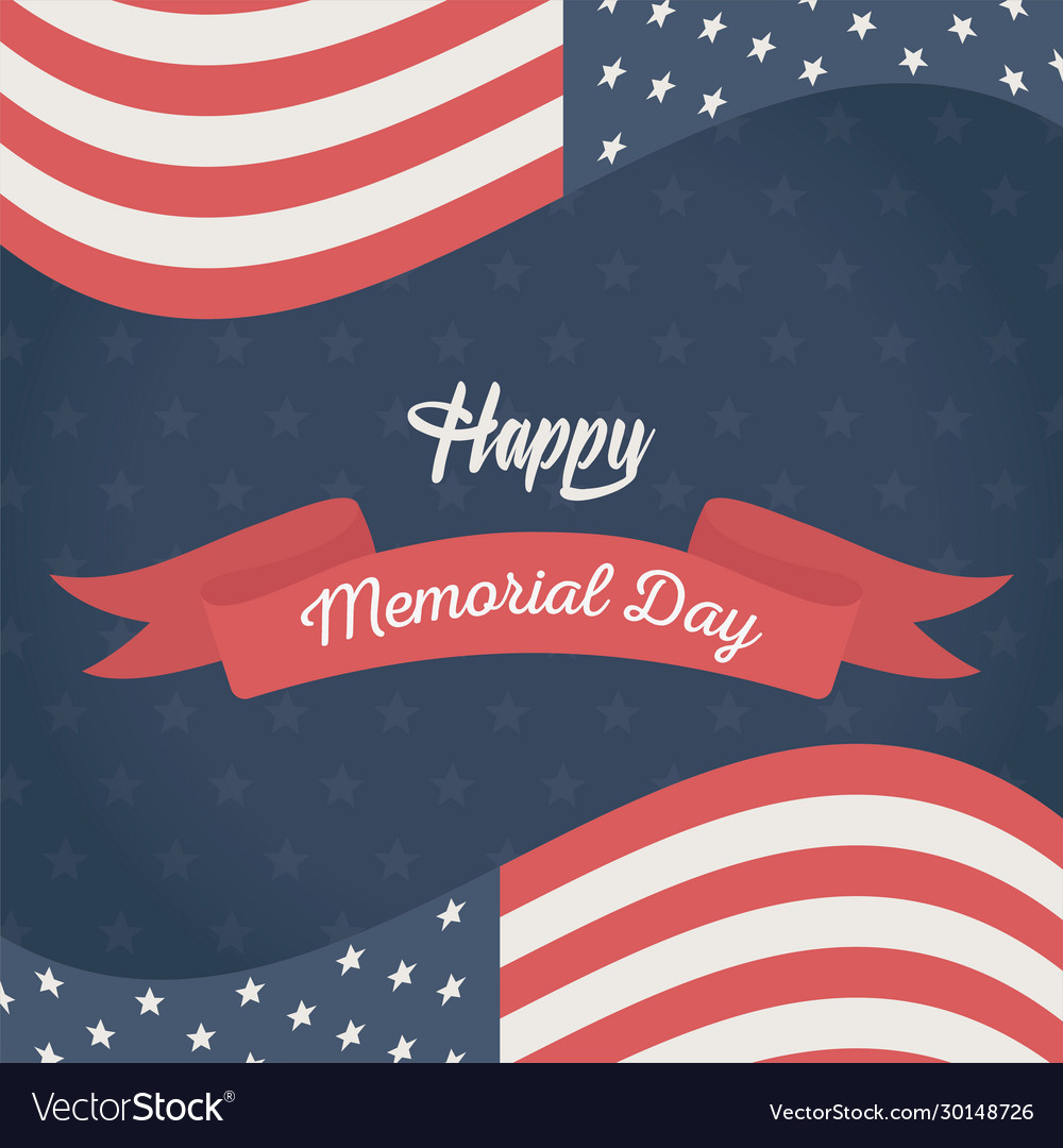Happy memorial day flags banner blue background