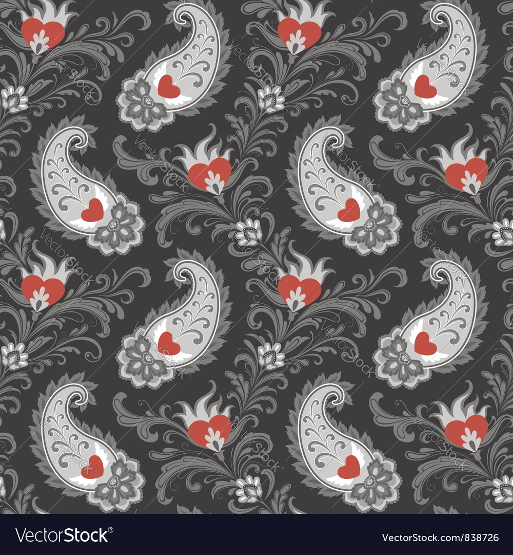 Hearts and paisley pattern
