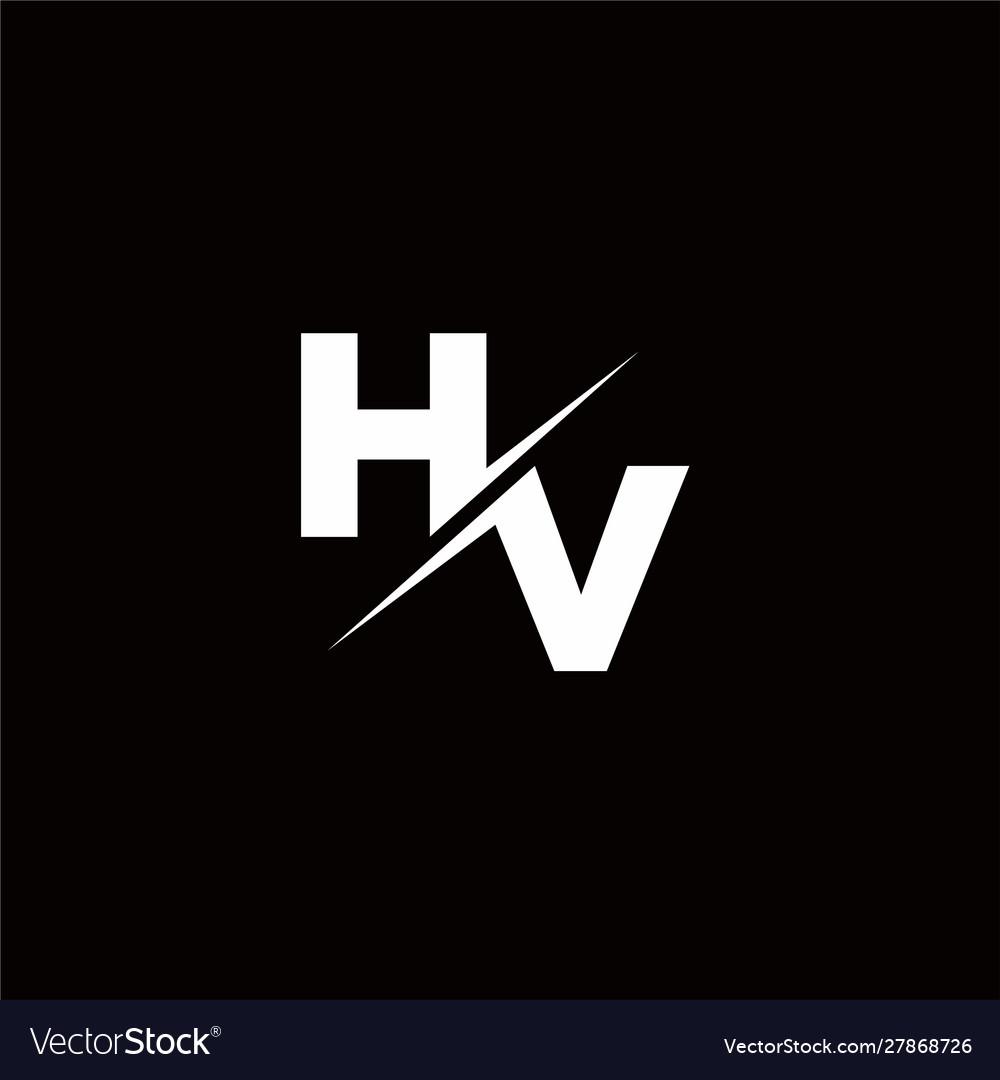 Hv Logo Letter Monogram Slash With Modern Logo Vector Image