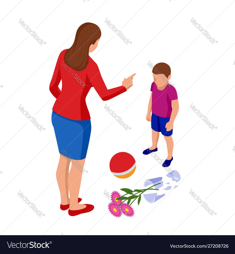 Isometric strict mother scolds her son for a
