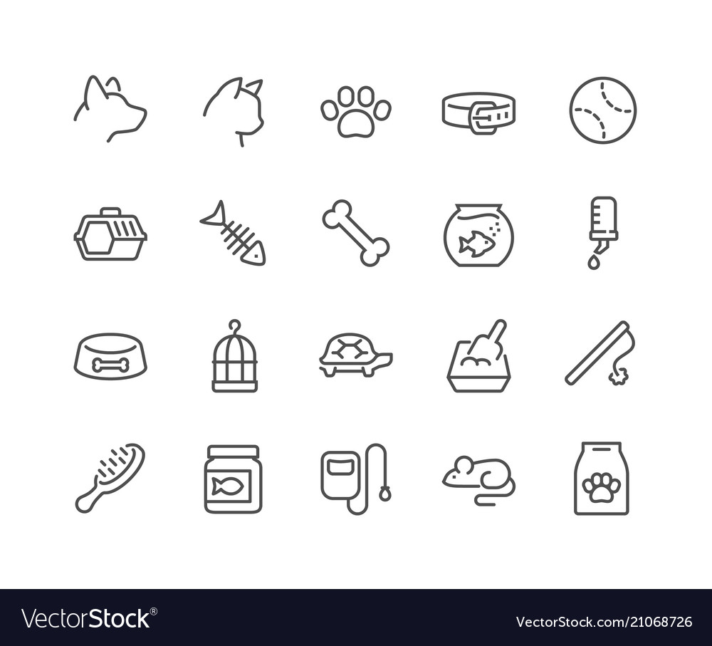 Line pet icons vector image