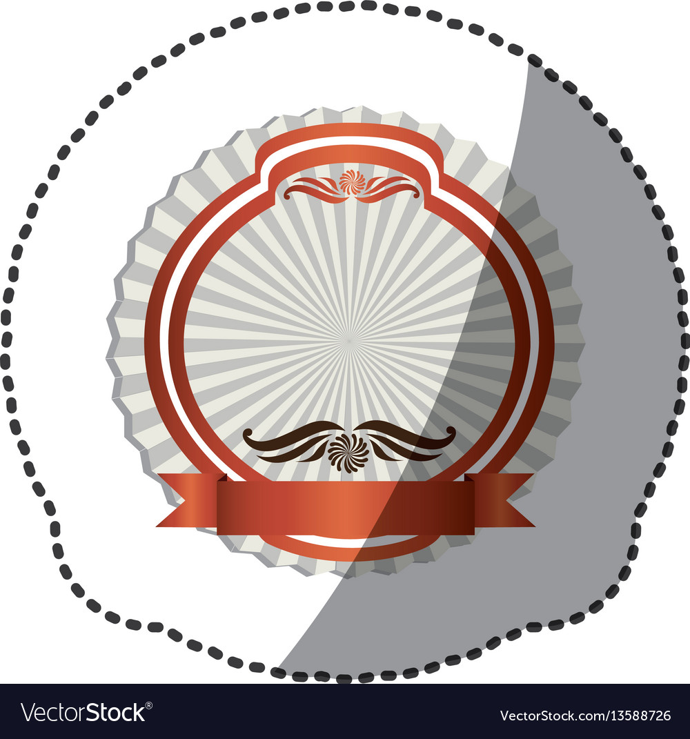 Pink emblem with symbols inside icon