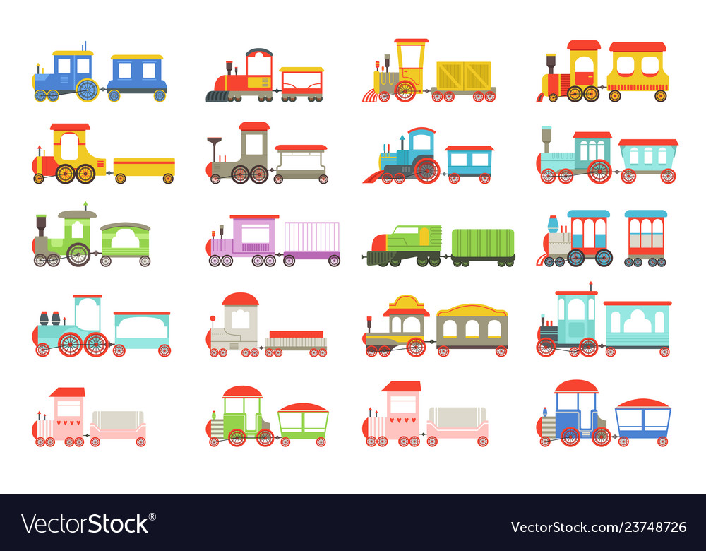 Toy trains set colorful locomotives and wagons vector