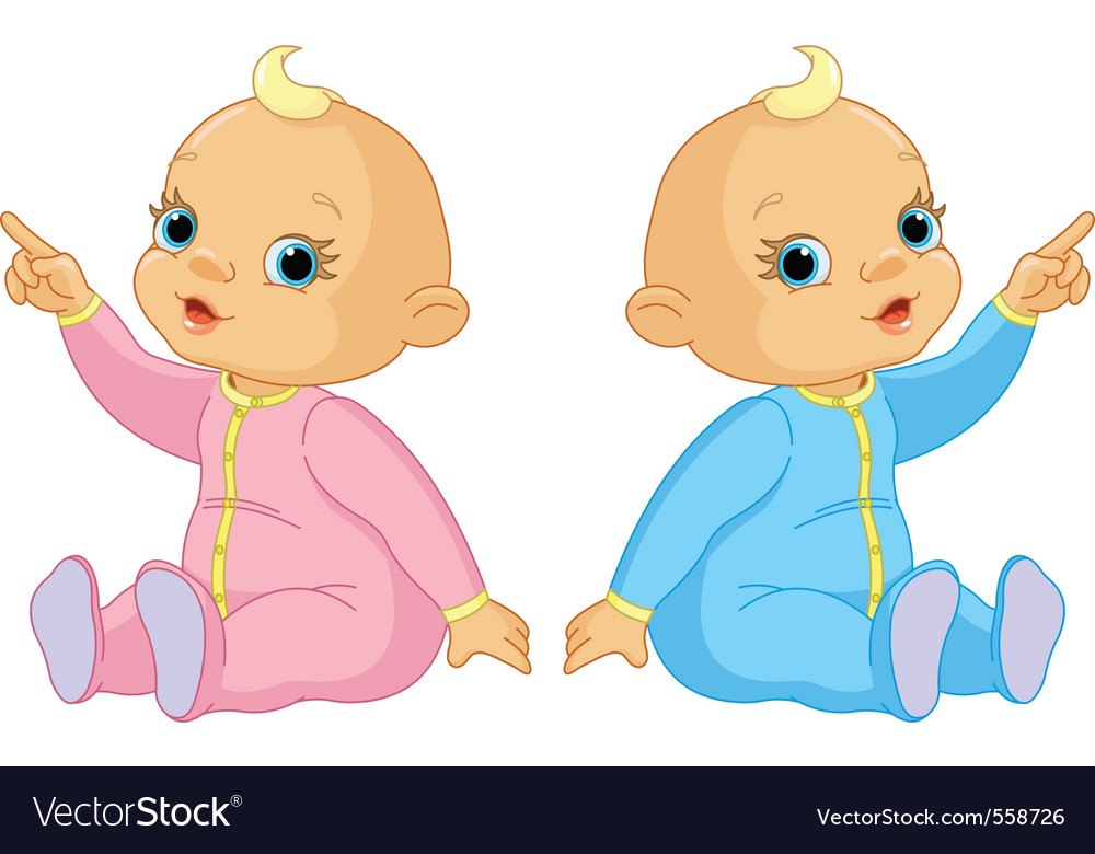 Two adorable babies the girl and the boy pointing vector image