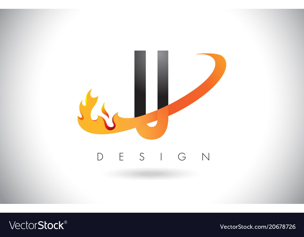 U letter logo with fire flames design and orange