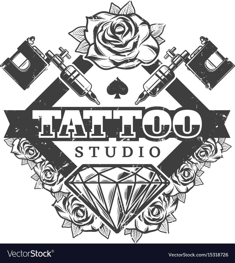 Vintage tattoo salon logotype template