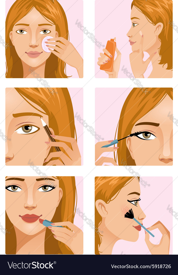 Young girl during makeup ritual vector image