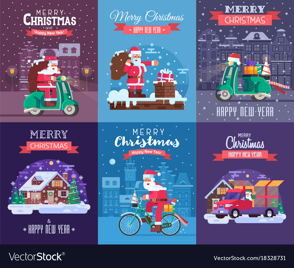 Christmas cards set with santa delivering Vector Image
