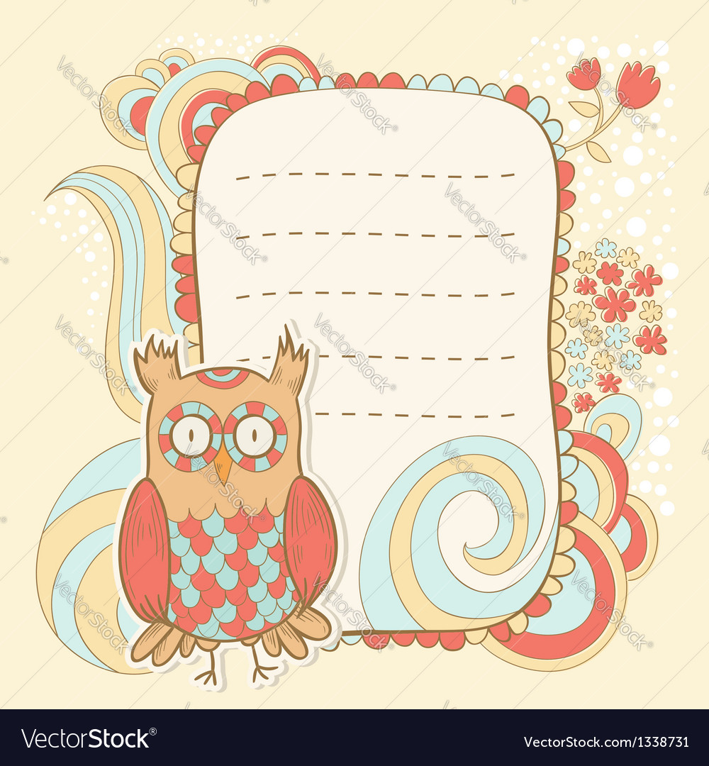 Cute cartoon owl stylish sticker card