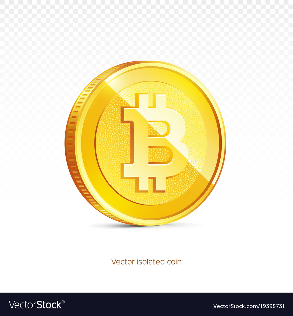 Gold bitcoin coin isolated background
