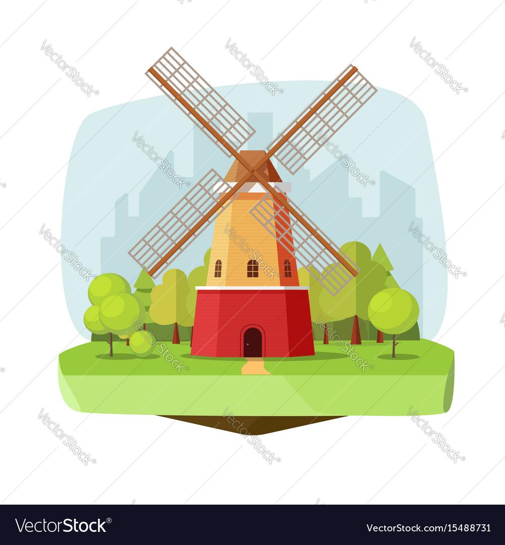 Mill farm on nature landscape