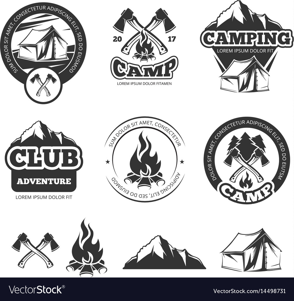 Nature vintage labels set for scout camp camping