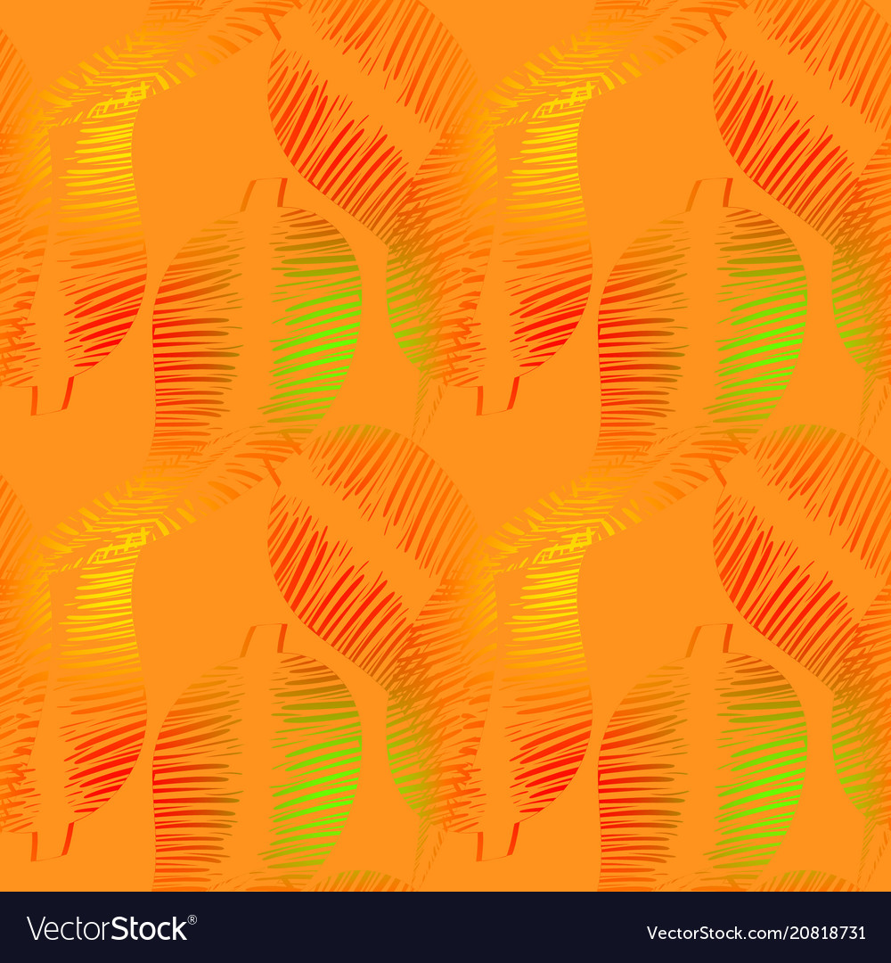Pattern of neon feathers and leaves on a yellow