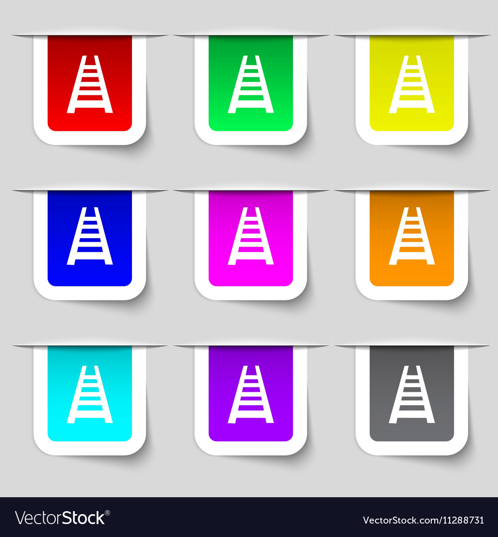 Railway track icon sign Set of multicolored modern