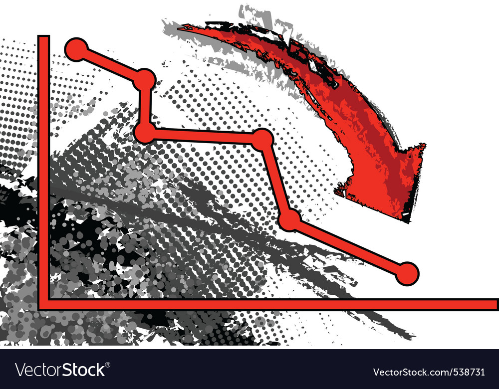 Red graph is comming down vector image