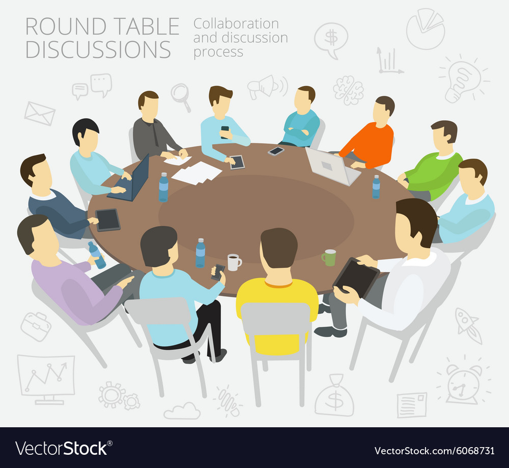 Stupendous Round Table Talks Group Of Business People Team Beutiful Home Inspiration Ommitmahrainfo