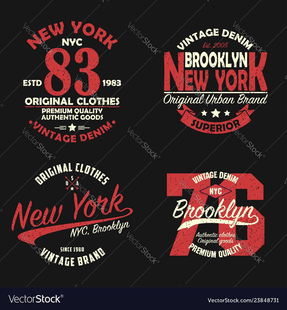 Set of new york brooklyn vintage print for t-shirt