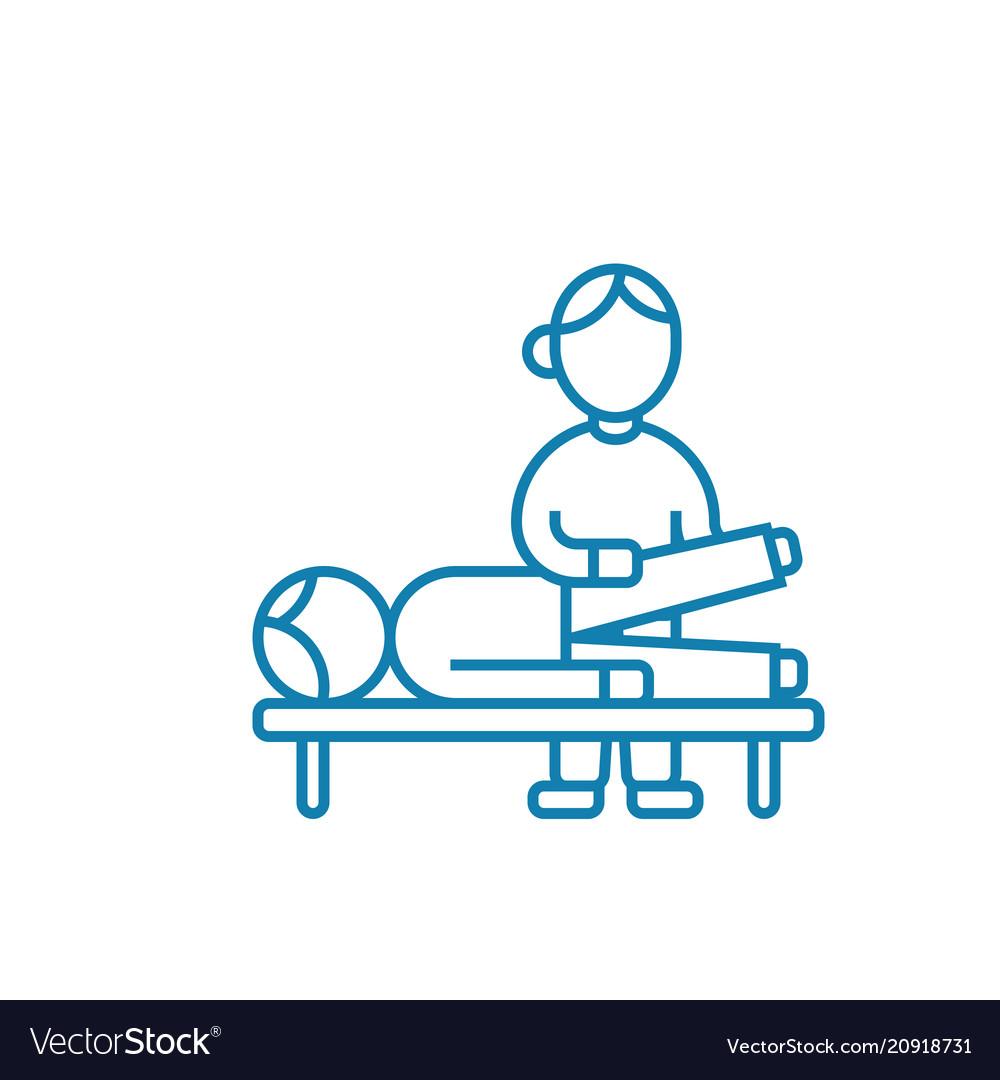 Traumatological examination linear icon concept