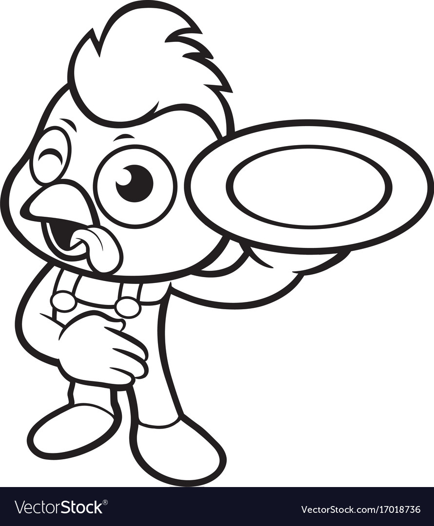 Black And White Cartoon Chicken Mascot Holding A Vector Image