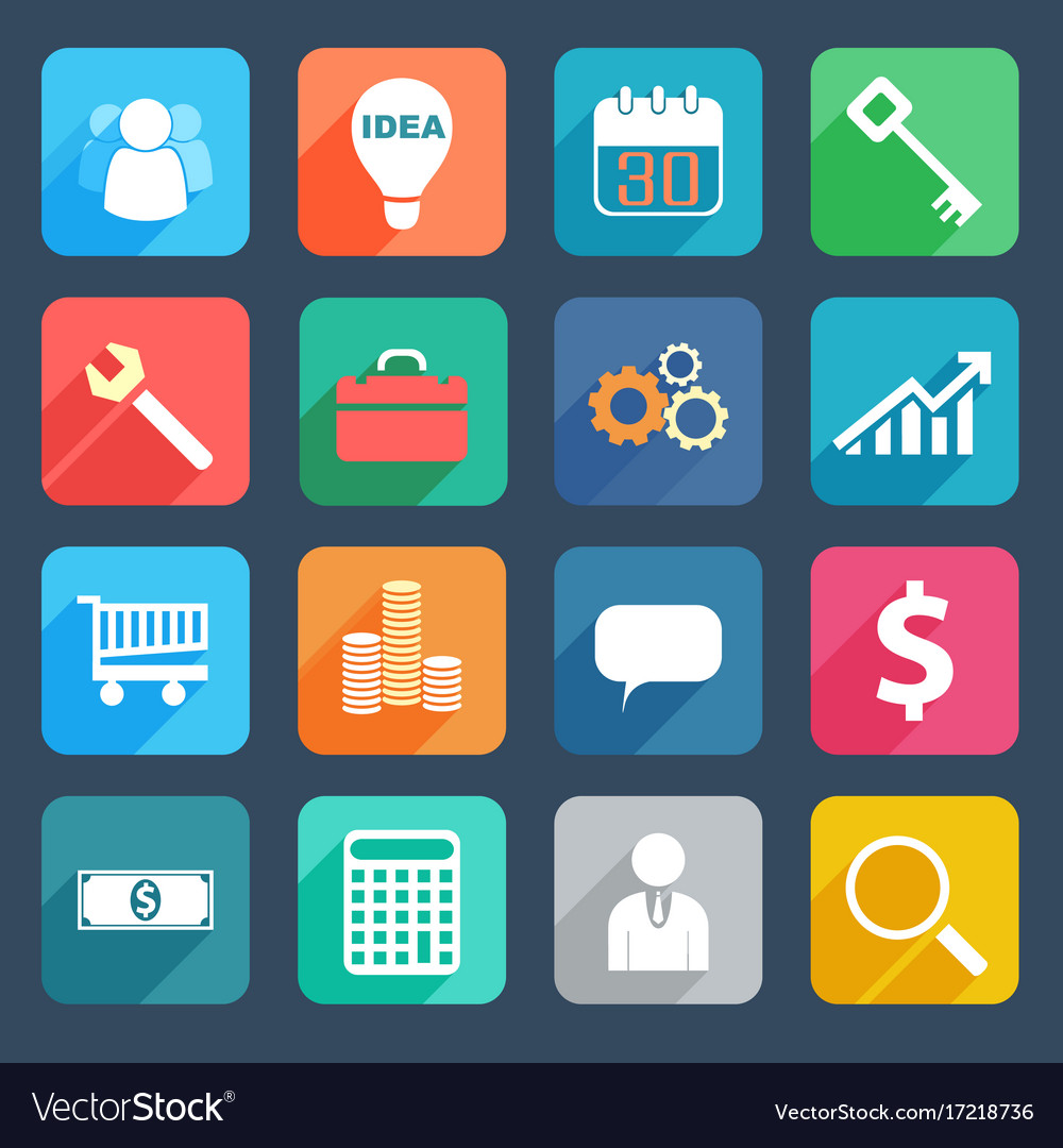 Colorful business icons set vector image
