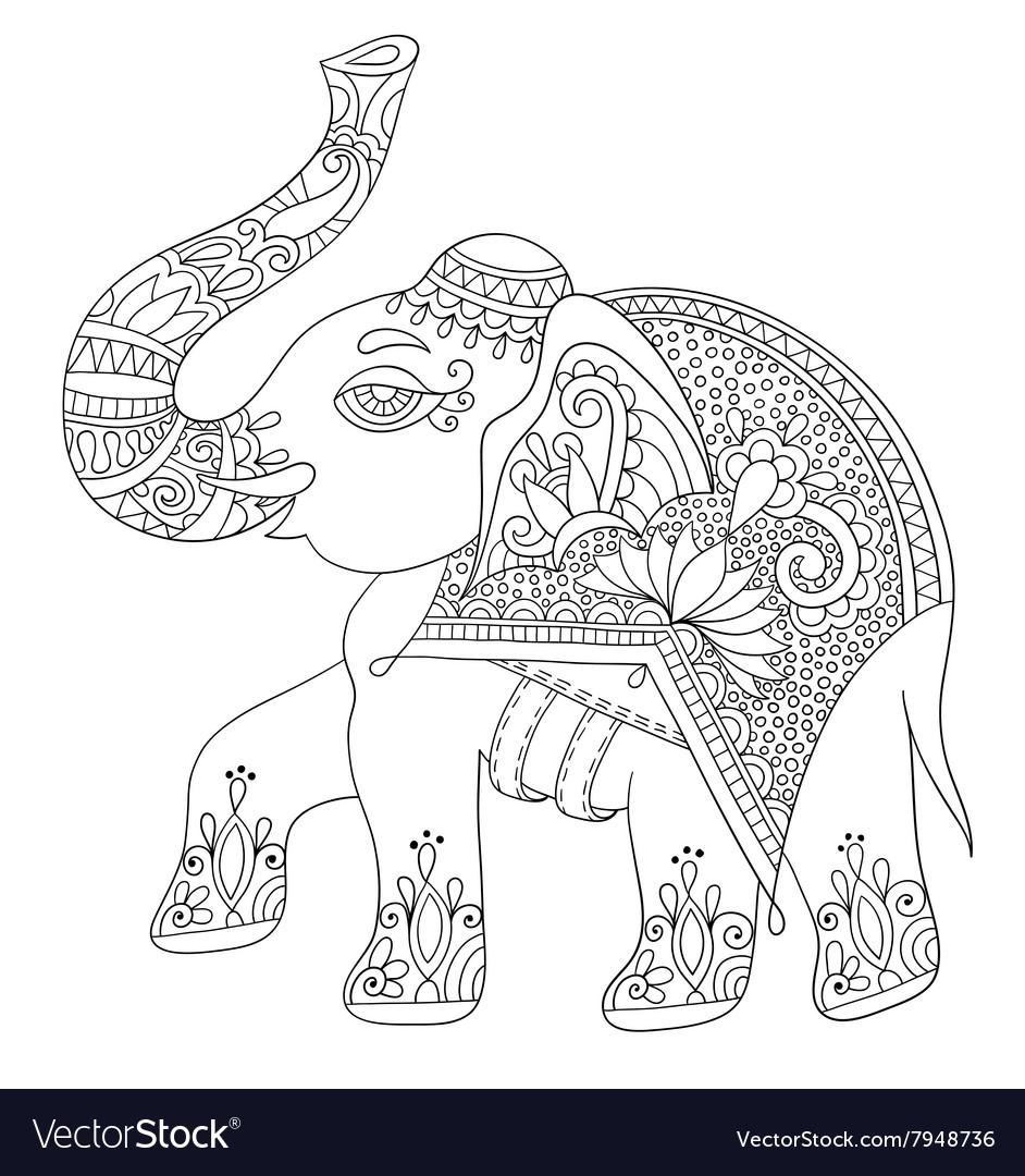 Ethnic indian elephant line original drawing