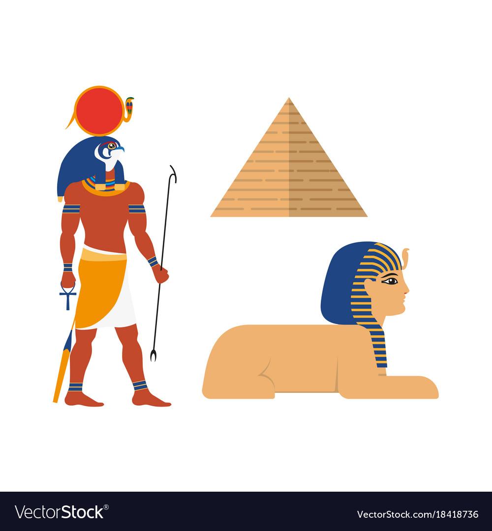 Flat egypt mythical symbols set