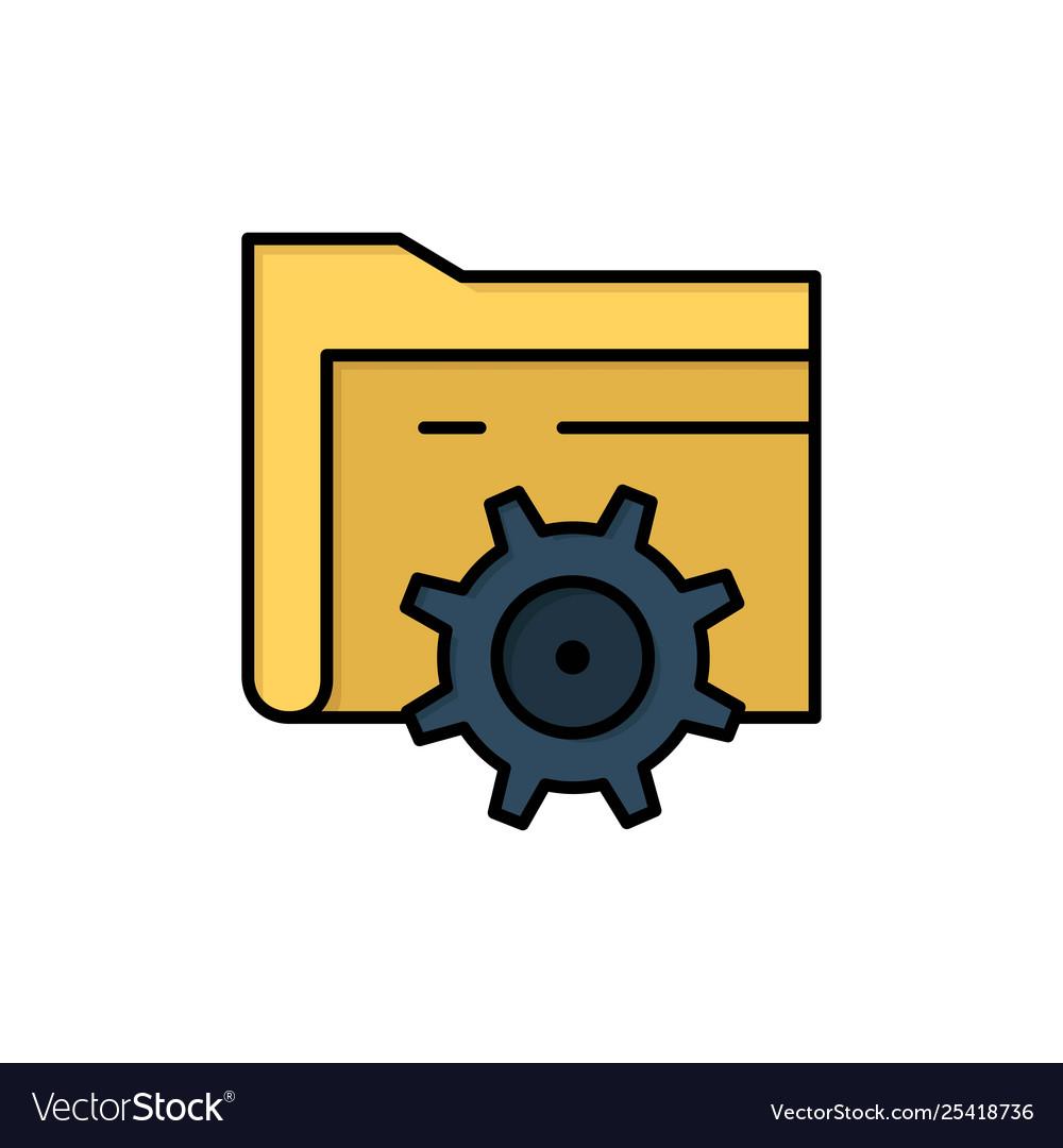 Folder setting gear computing flat color icon