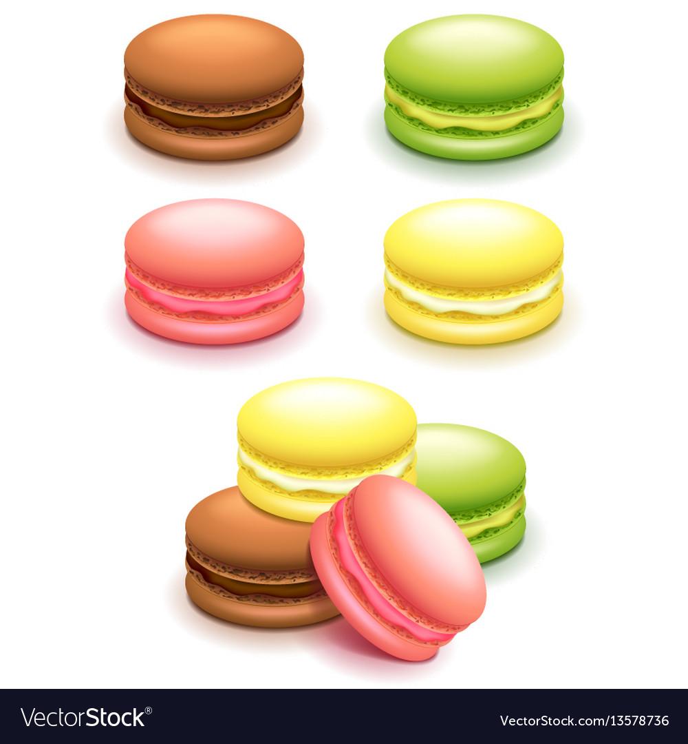 French macaroon cakes set isolated on white